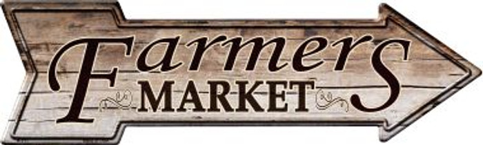 Farmers Market Novelty Metal Arrow Sign