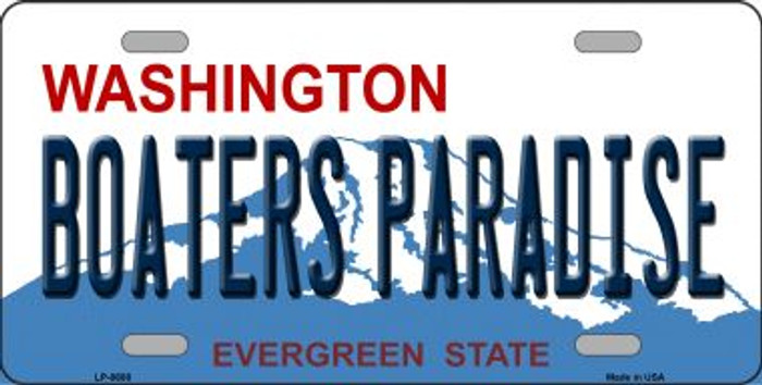 Boaters Paradise Washington Background Novelty Metal License Plate