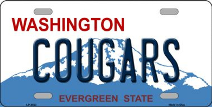 Cougars Washington Background Novelty Metal License Plate