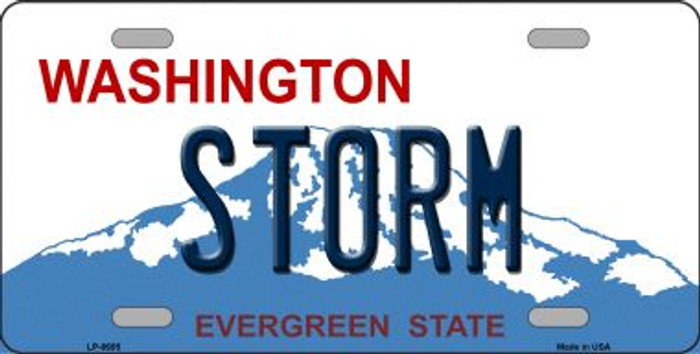 Storm Washington Background Novelty Metal License Plate