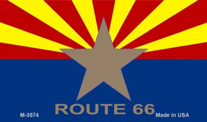 AZ Flag With Route 66 Novelty Metal Magnet