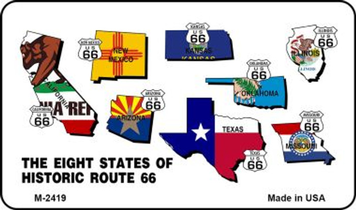 Route 66 Historic Eight Flags Novelty Metal Magnet