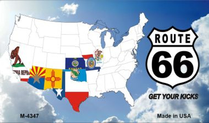 Route 66 Eight Flags With Clouds Novelty Metal Magnet