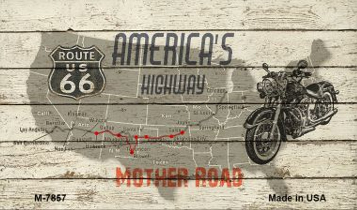 Route 66 Mother Road On Wood Novelty Metal Magnet