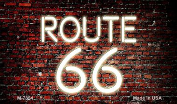 Route 66 Neon On Brick Wall Novelty Metal Magnet