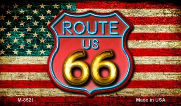Route 66 Neon Shield With American Flag Novelty Metal Magnet