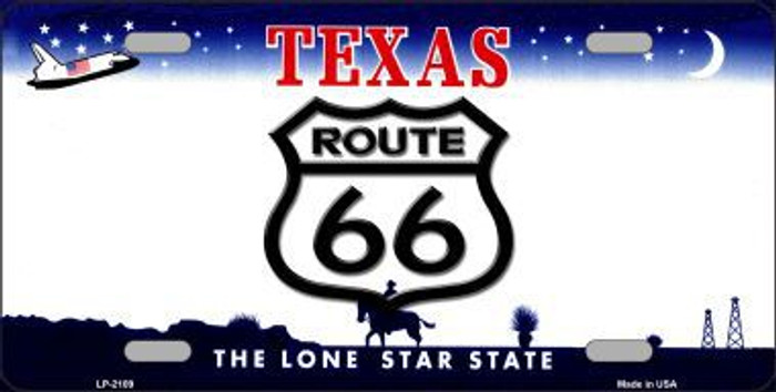 Route 66 Texas Novelty Metal License Plate