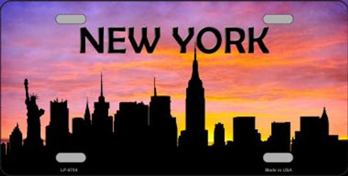 New York Silhouette Novelty Metal License Plate