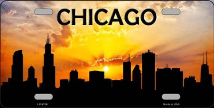 Chicago Silhouette Novelty Metal License Plate