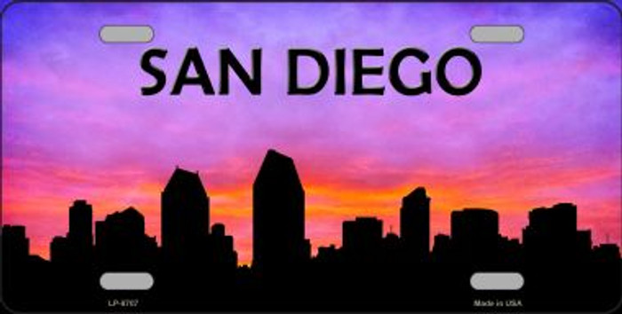 San Diego Silhouette Novelty Metal License Plate