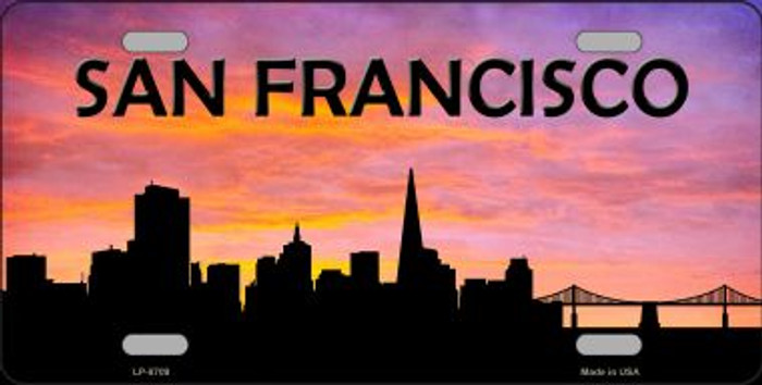 San Francisco Silhouette Novelty Metal License Plate