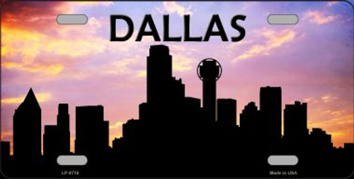 Dallas Silhouette Novelty Metal License Plate