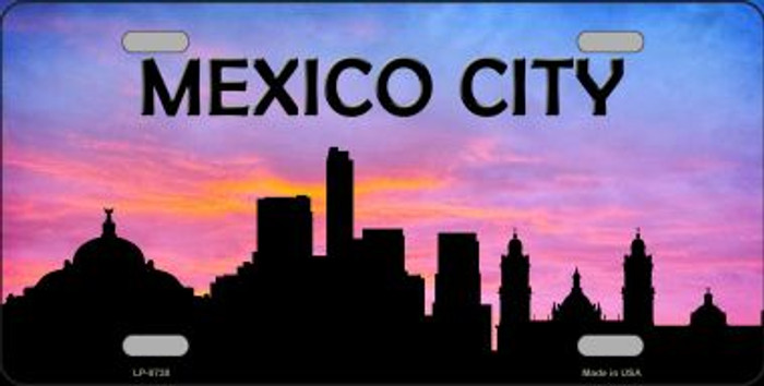 Mexico City Silhouette Novelty Metal License Plate