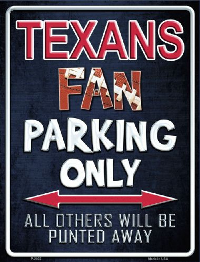 Texans Metal Novelty Parking Sign