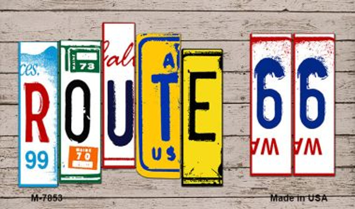 Route 66 Wood License Plate Art Novelty Metal Magnet