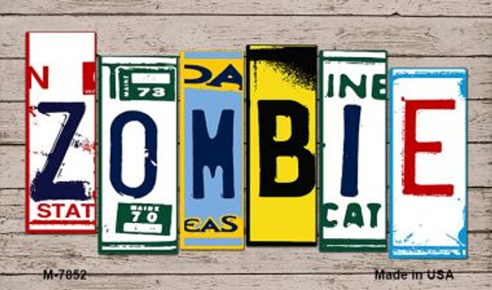 Zombies Wood License Plate Art Novelty Metal Magnet
