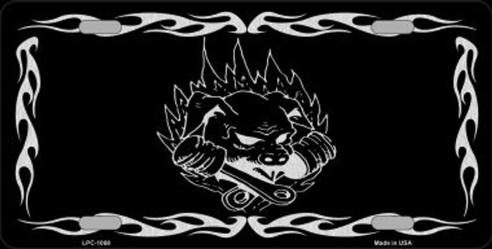 Pig In Flames Black Brushed Chrome Novelty Metal License Plate