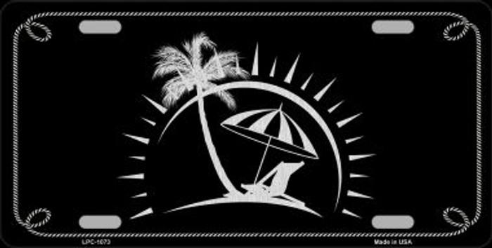 Beach Design Black Brushed Chrome Novelty Metal License Plate