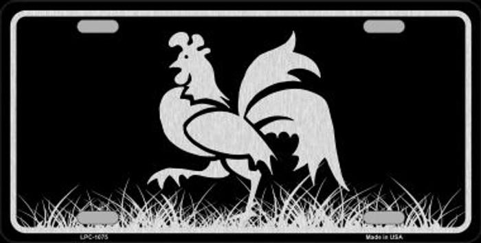Rooster Black Brushed Chrome Novelty Metal License Plate
