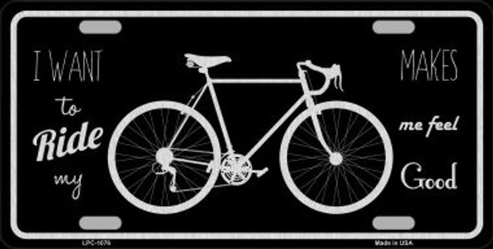 Bike Black Brushed Chrome Novelty Metal License Plate