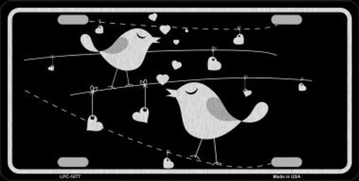 Love Birds Black Brushed Chrome Novelty Metal License Plate