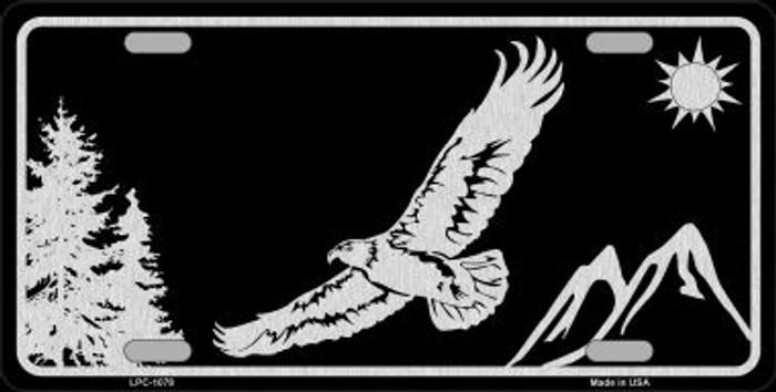 Eagle Black Brushed Chrome Novelty Metal License Plate