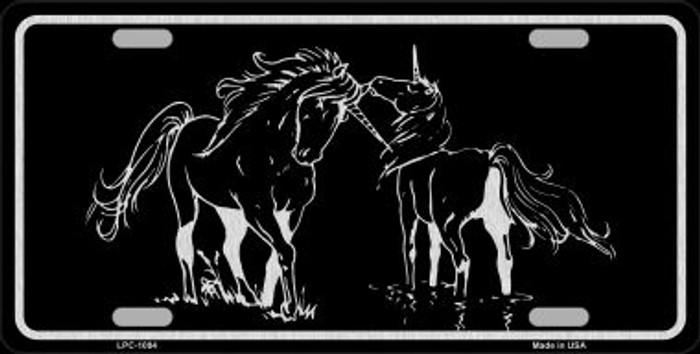 Unicorns Black Brushed Chrome Novelty Metal License Plate