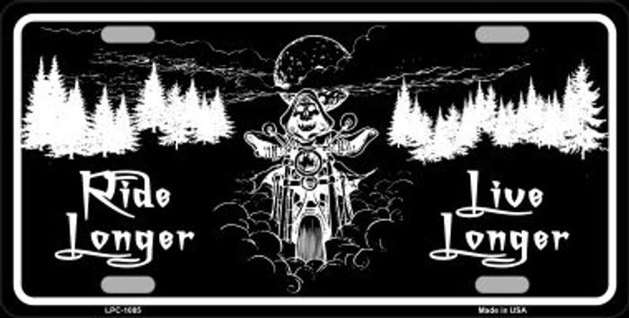 Ride Longer Live Longer Black Brushed Chrome Novelty Metal License Plate
