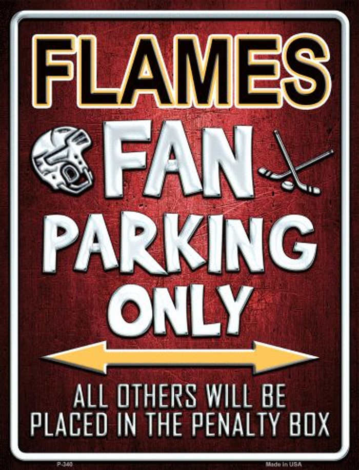 Flames Metal Novelty Parking Sign