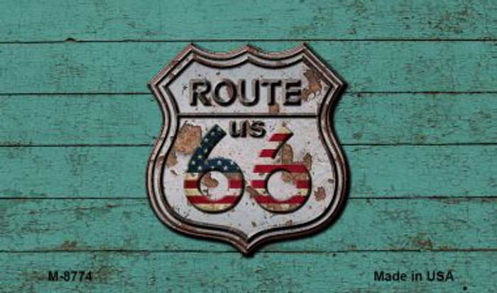 Route 66 Rusty On Wood Novelty Metal Magnet