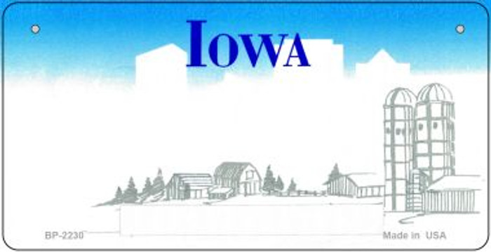 Iowa Novelty State Background Bicycle License Plate