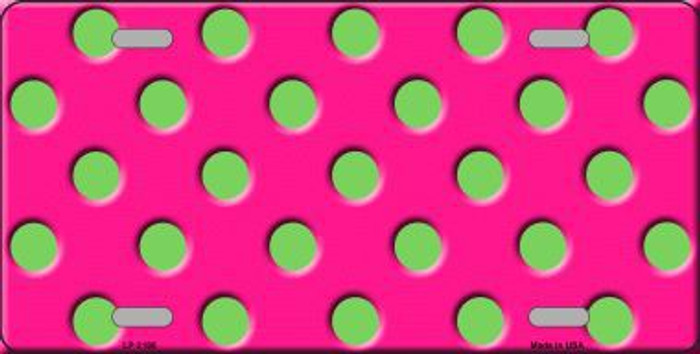 Lime Green Polka Dots Hot Pink Metal Novelty License Plate