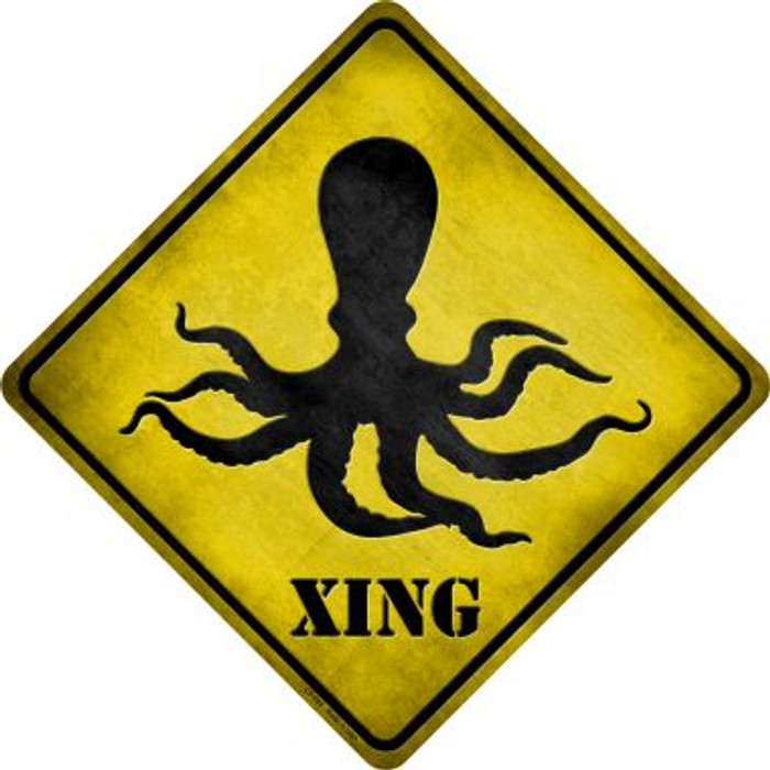 Octopus Xing Novelty Metal Crossing Sign