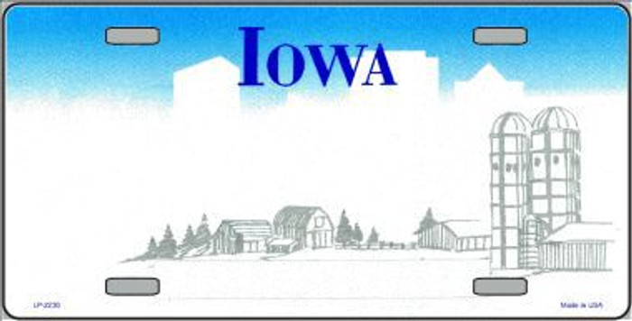 Iowa Novelty State Background Blank Metal License Plate