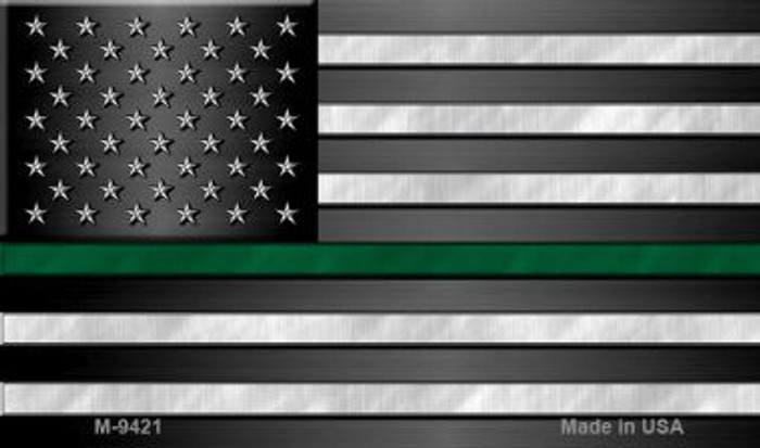 American Flag Thin Green Line Novelty Metal Magnet