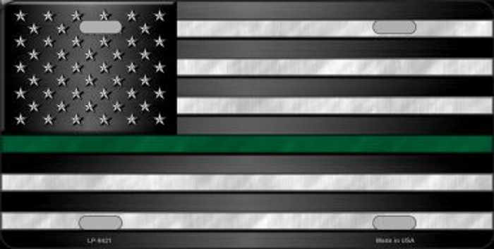 American Flag Thin Green Line Novelty Metal License Plate