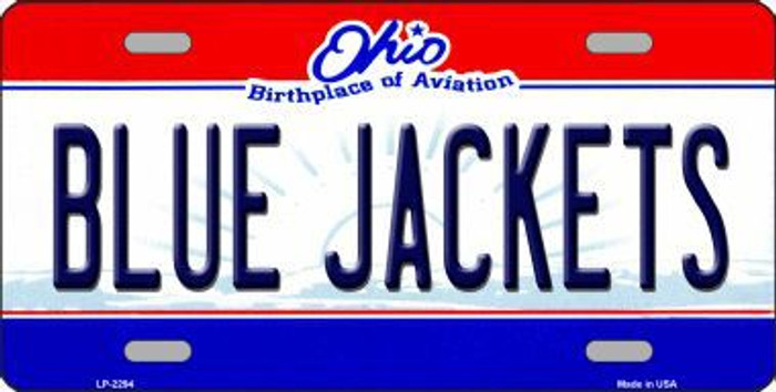 Blue Jackets Ohio Novelty State Background Metal License Plate