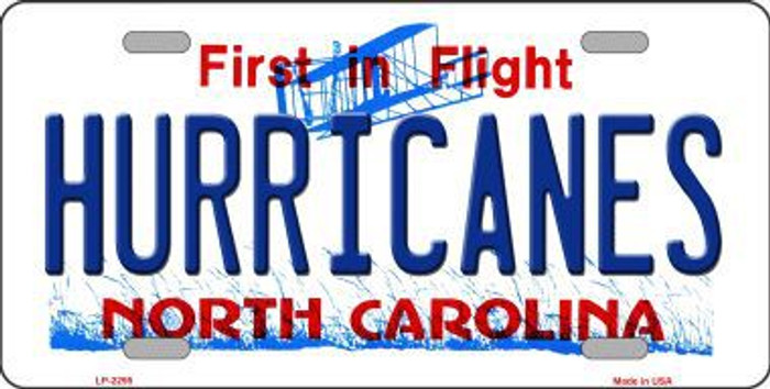Hurricanes North Carolina Novelty State Background Metal License Plate