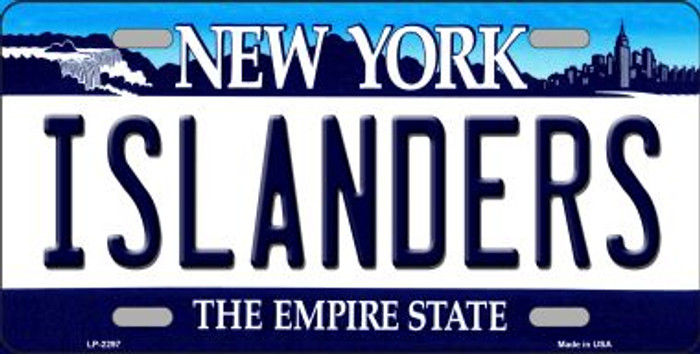 Islanders New York Novelty State Background Metal License Plate