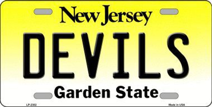 Devils New Jersey Novelty State Background Metal License Plate