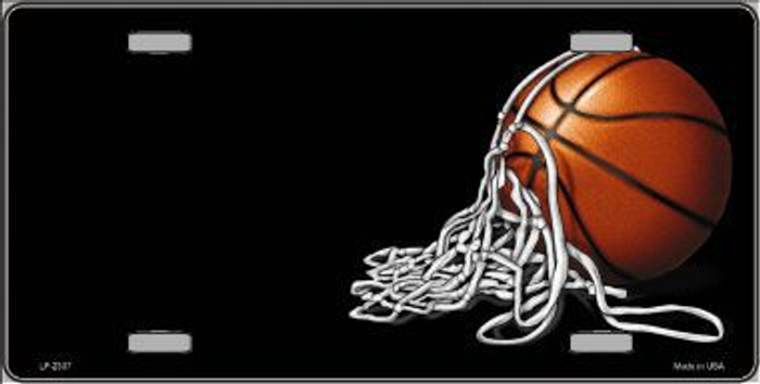 Basketball With Net Offset Metal Novelty License Plate