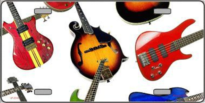 Guitars White Background Metal Novelty License Plate
