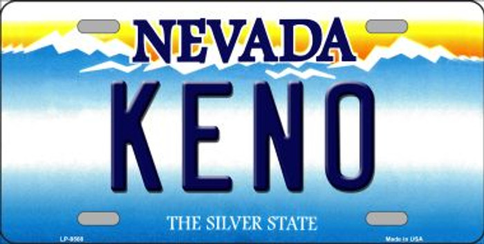 Keno Nevada Background Novelty Metal License Plate