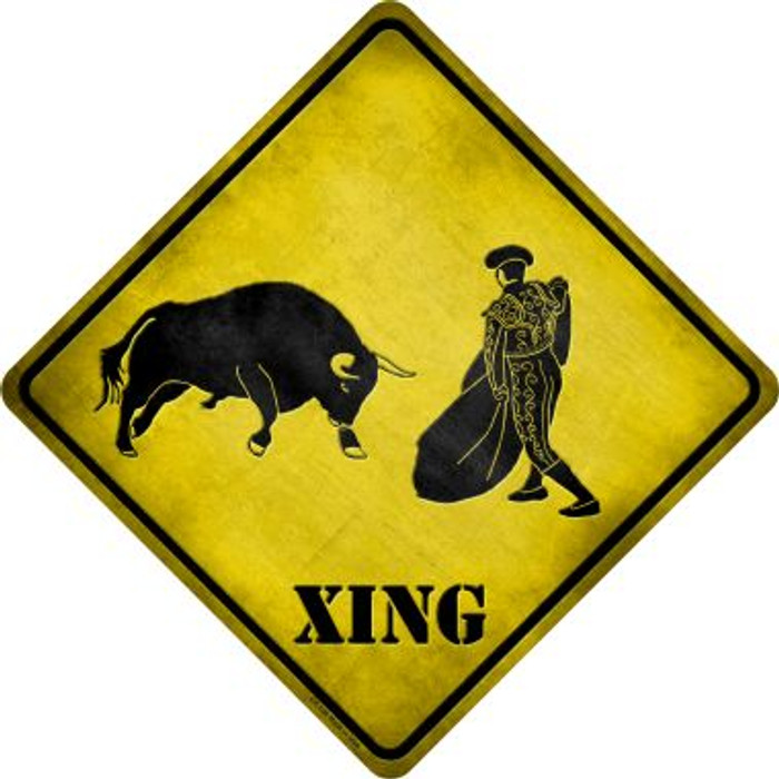 Bullfight Xing Novelty Metal Crossing Sign