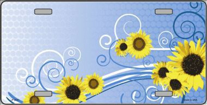Sunflowers Metal Novelty License Plate