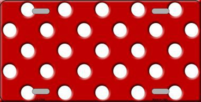White Polka Dots Red Metal Novelty License Plate