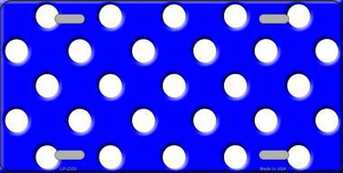 White Polka Dots Royal Blue Background Metal Novelty License Plate
