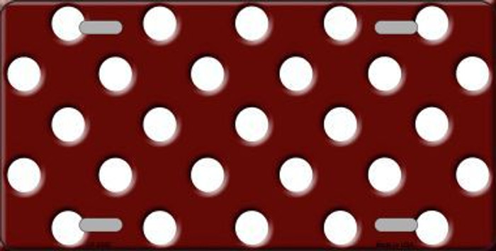 White Polka Dots Burgundy Background Metal Novelty License Plate