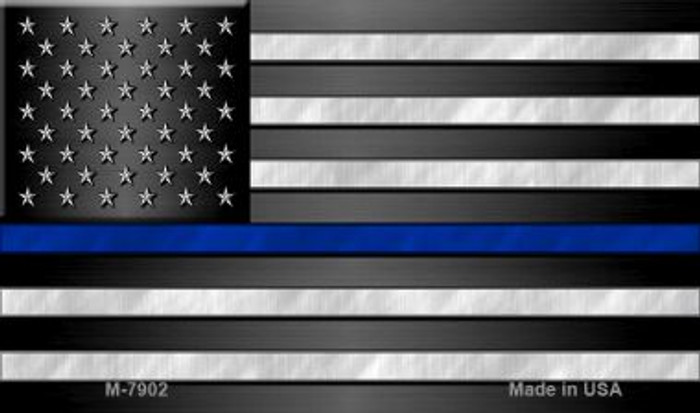 American Flag Thin Blue Line Novelty Metal Magnet