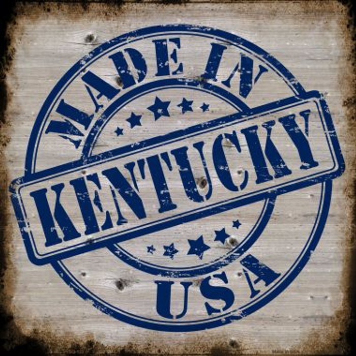 Kentucky Stamp On Wood Novelty Metal Square Sign